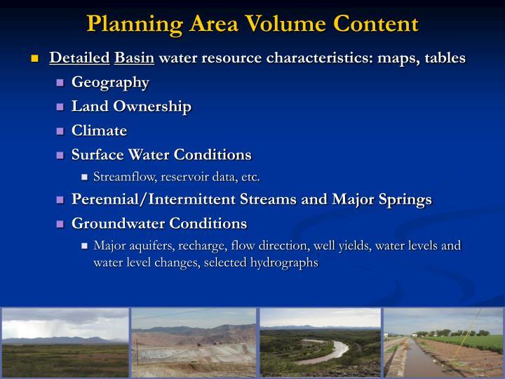 Planning Area Volume Content