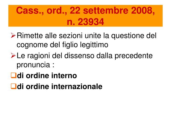 Cass., ord., 22 settembre 2008,