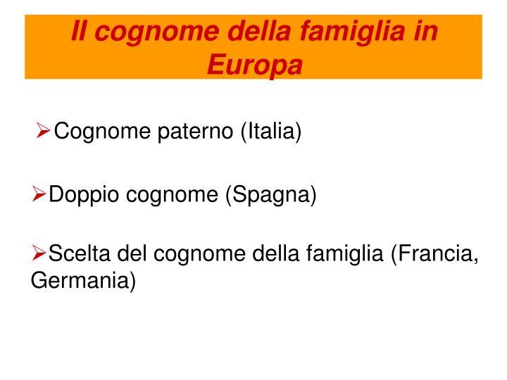 II cognome della famiglia in Europa