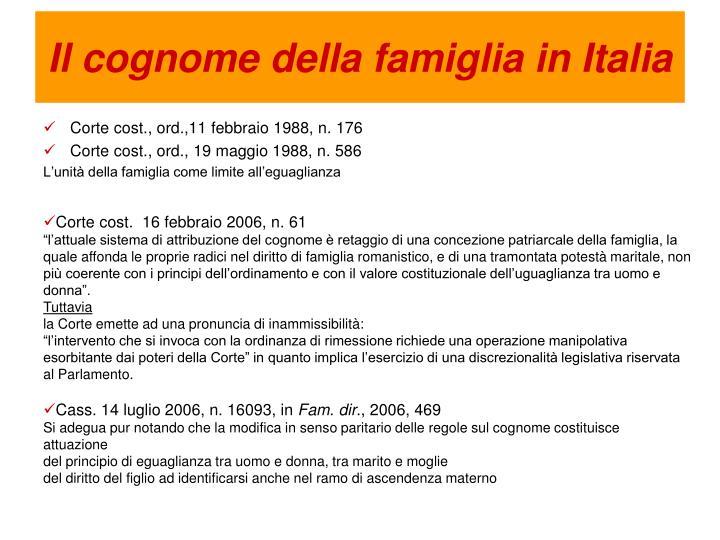 Il cognome della famiglia in Italia