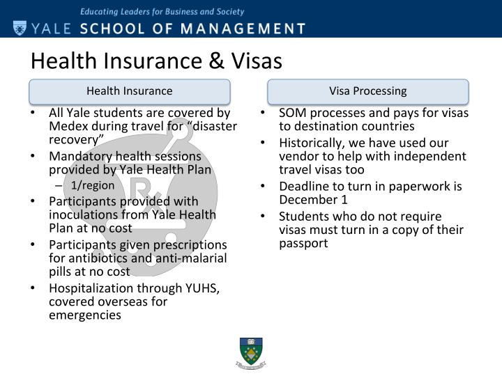 "All Yale students are covered by Medex during travel for ""disaster recovery"""
