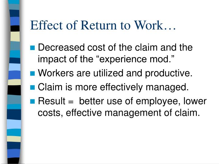 Effect of Return to Work…