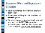 return to work and experience modifier