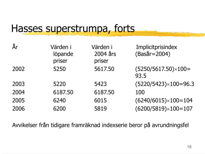 Hasses superstrumpa, forts