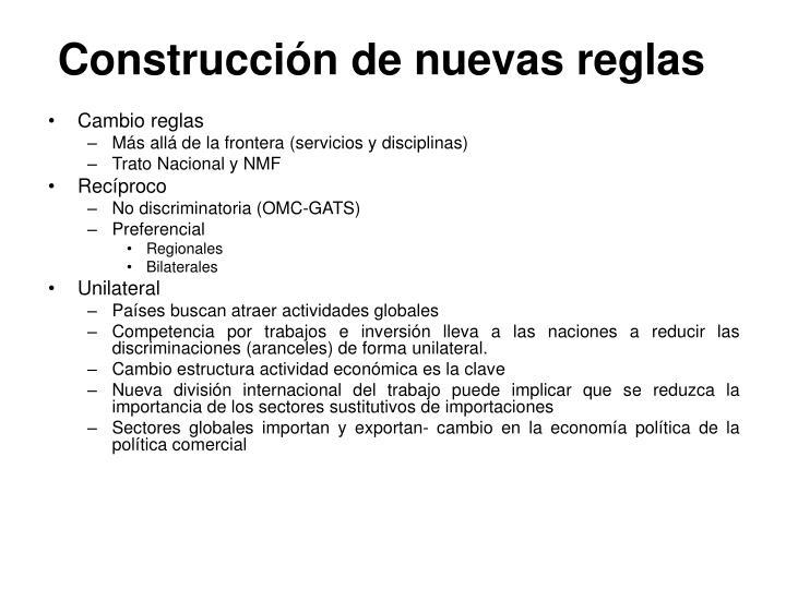 Construcción de nuevas reglas