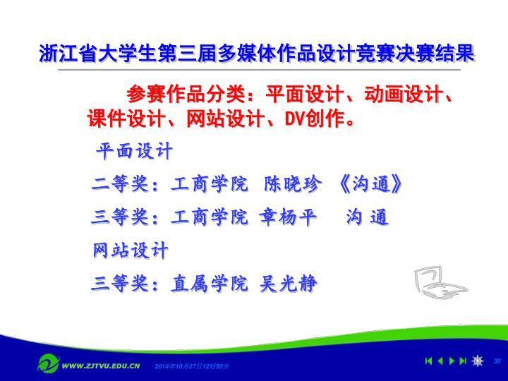 浙江省大学生第三届多媒体作品设计竞赛决赛结果