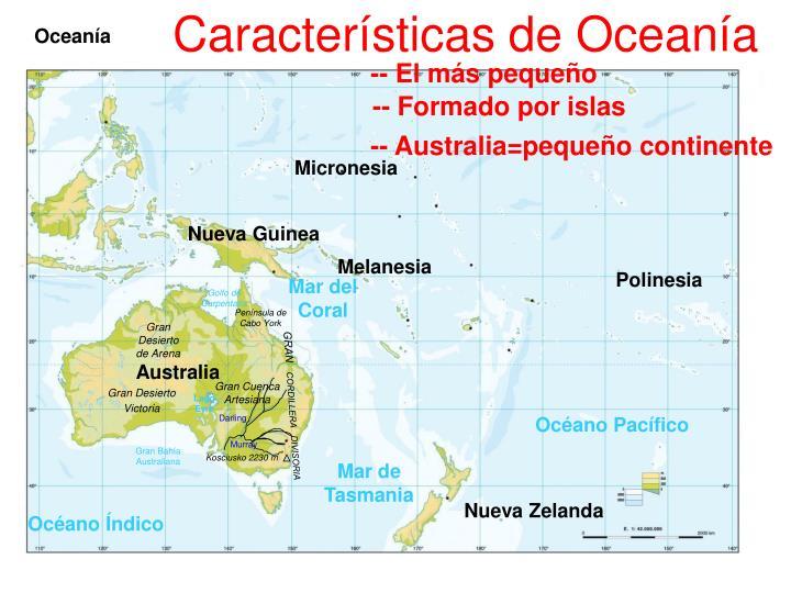 Características de Oceanía