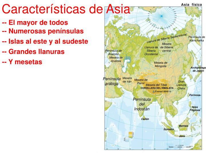Características de Asia