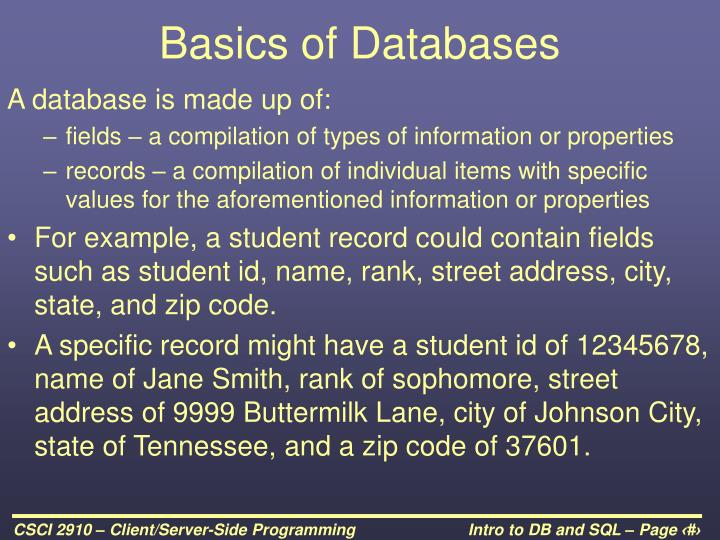Basics of databases