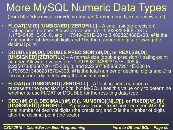 More MySQL Numeric Data Types