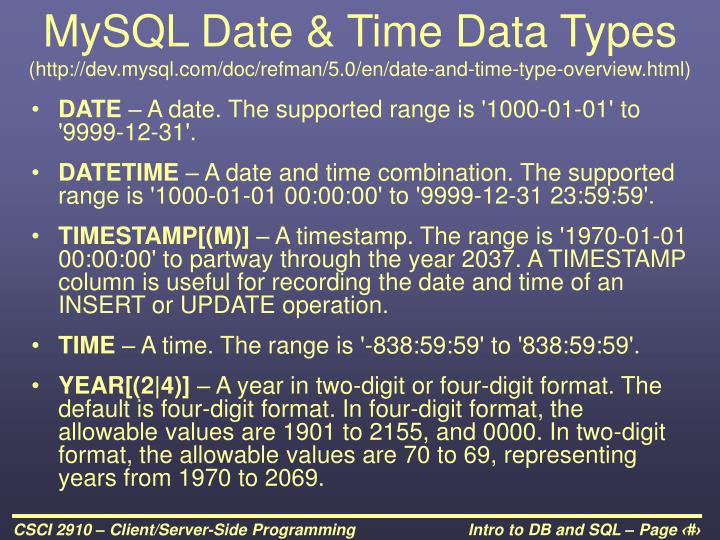MySQL Date & Time Data Types
