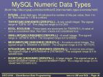 mysql numeric data types from http dev mysql com doc refman 5 0 en numeric type overview html