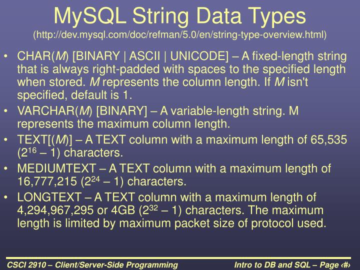 MySQL String Data Types