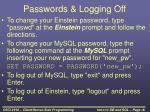 passwords logging off