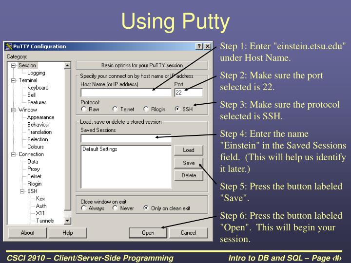 Using Putty