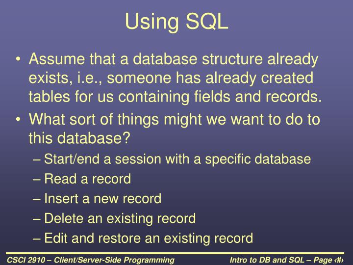 Using SQL