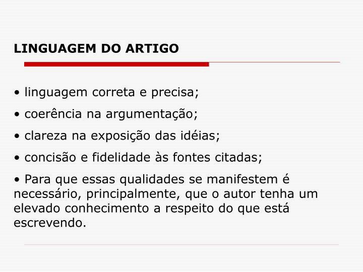 LINGUAGEM DO ARTIGO