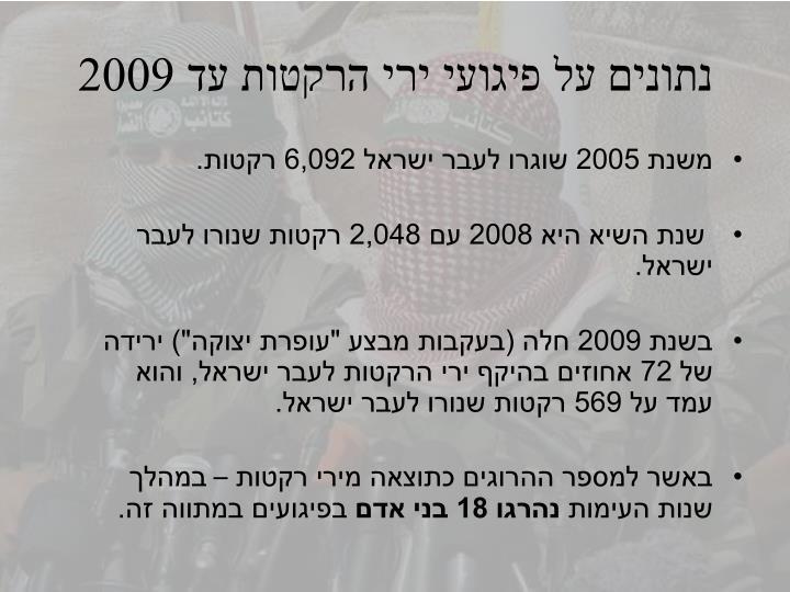 נתונים על פיגועי ירי הרקטות עד 2009