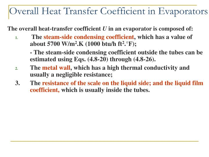 Overall Heat Transfer Coefficient in Evaporators