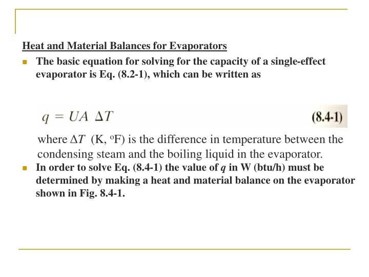 Heat and Material Balances for Evaporators
