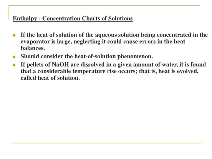 Enthalpy - Concentration Charts of Solutions