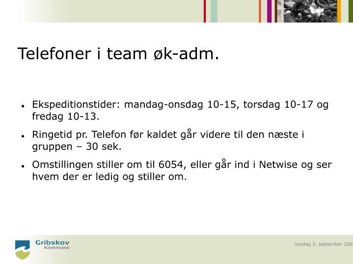 Telefoner i team øk-adm.