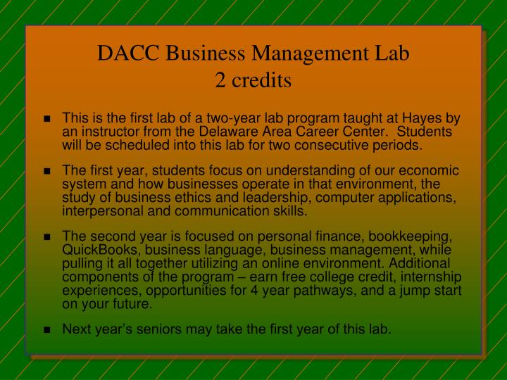 DACC Business Management Lab