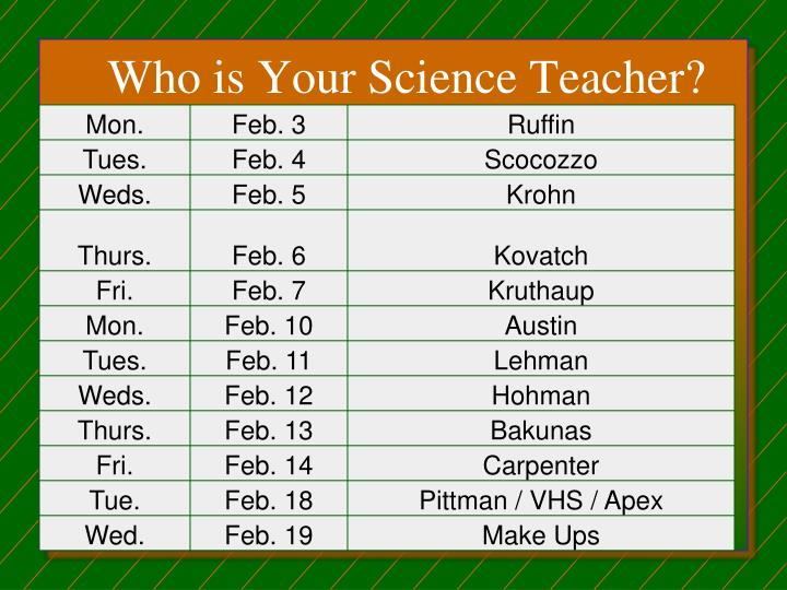 Who is Your Science Teacher?