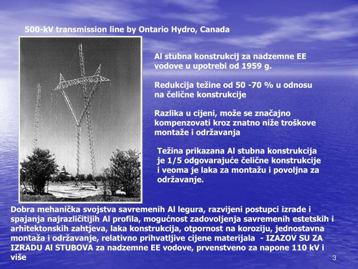 500-kV transmission line by Ontario Hydro, Canada