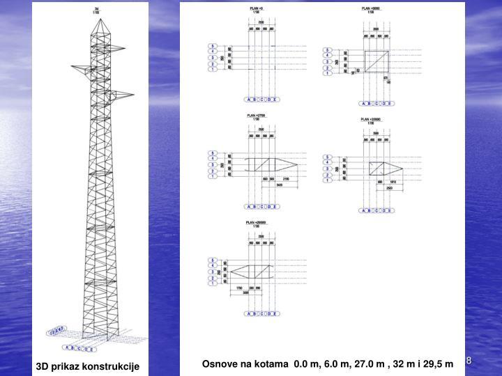 Osnove na kotama  0.0 m, 6.0 m, 27.0 m , 32 m i 29,5 m