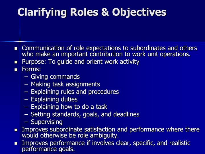 Clarifying Roles