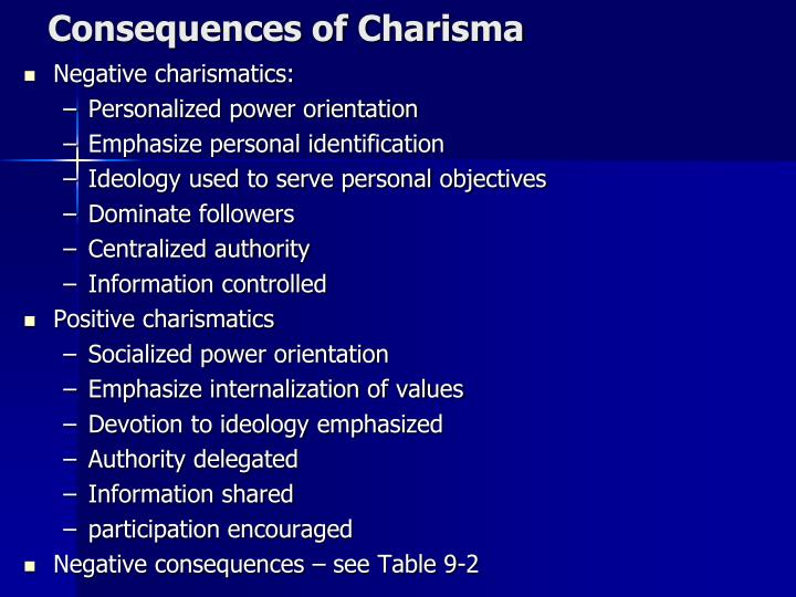 Consequences of Charisma