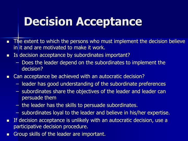 Decision Acceptance