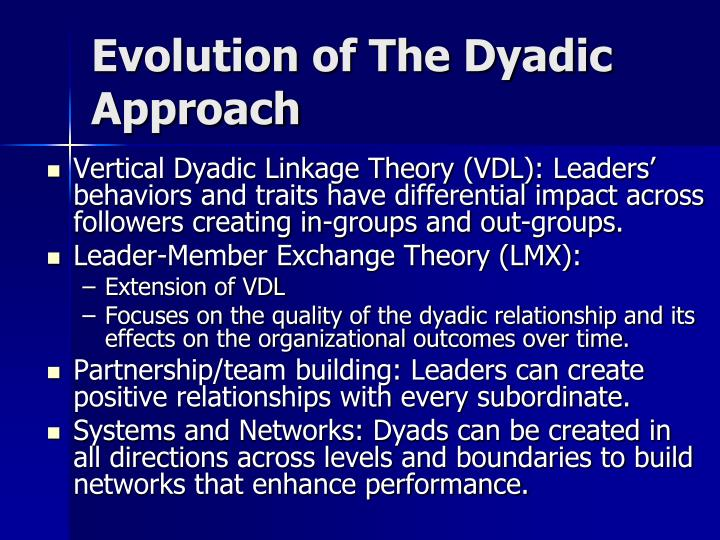Evolution of The Dyadic Approach