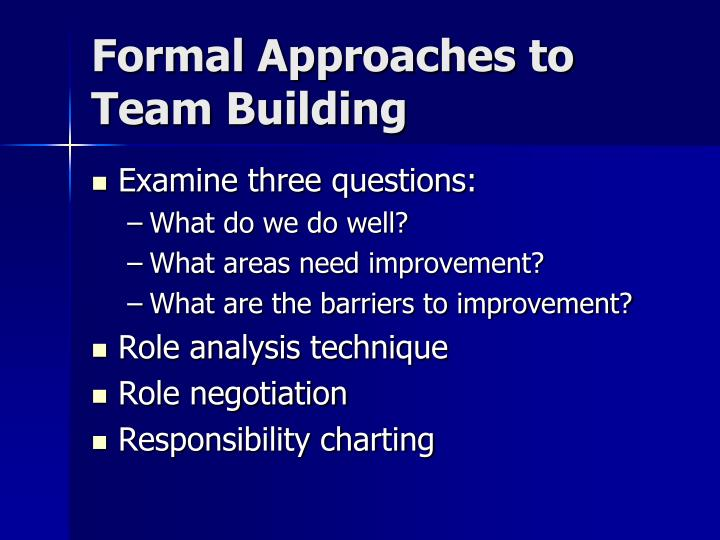 Formal Approaches to Team Building