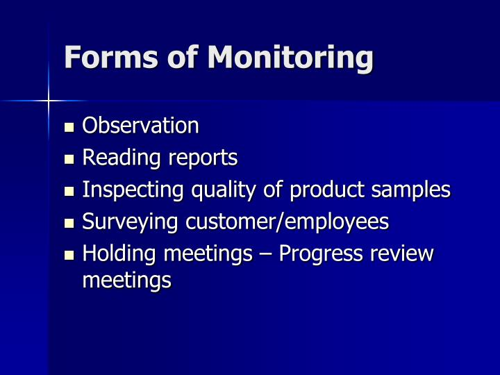 Forms of Monitoring
