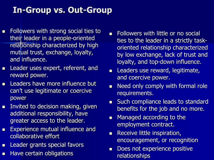 Followers with strong social ties to their leader in a people-oriented relationship characterized by high mutual trust, exchange, loyalty, and influence.
