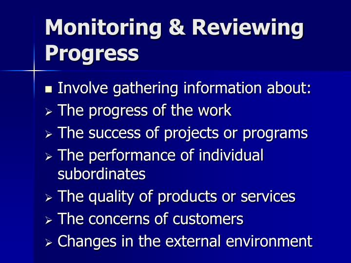 Monitoring & Reviewing Progress