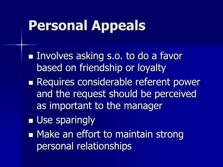 Personal Appeals