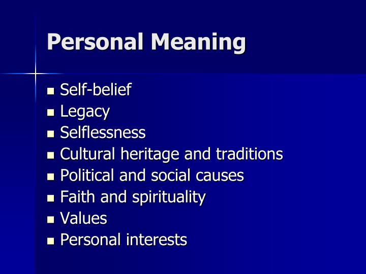 Personal Meaning