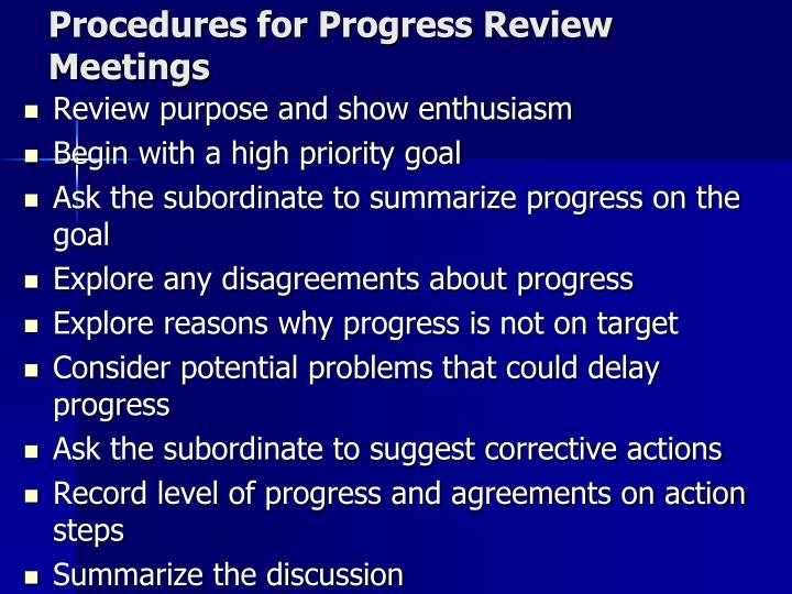 Procedures for Progress Review Meetings
