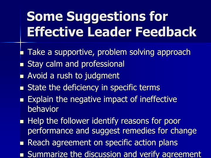 Some Suggestions for Effective Leader Feedback