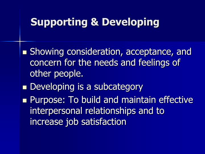 Supporting & Developing