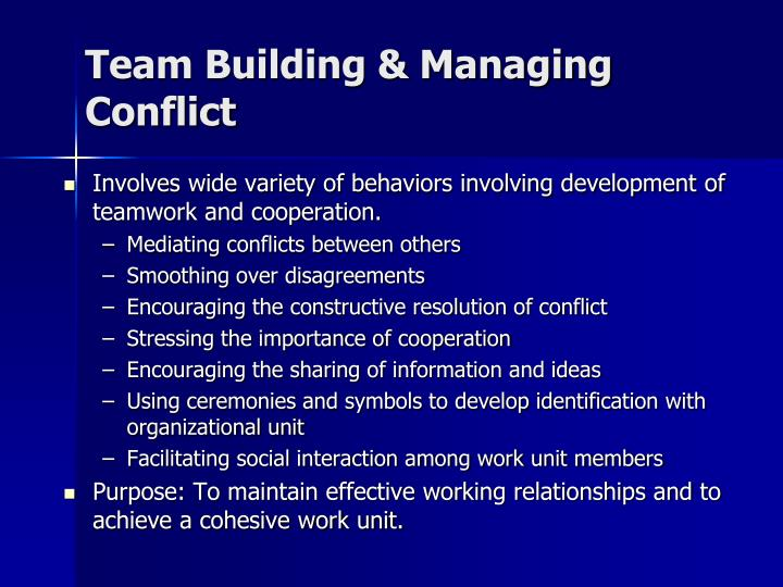Team Building & Managing Conflict