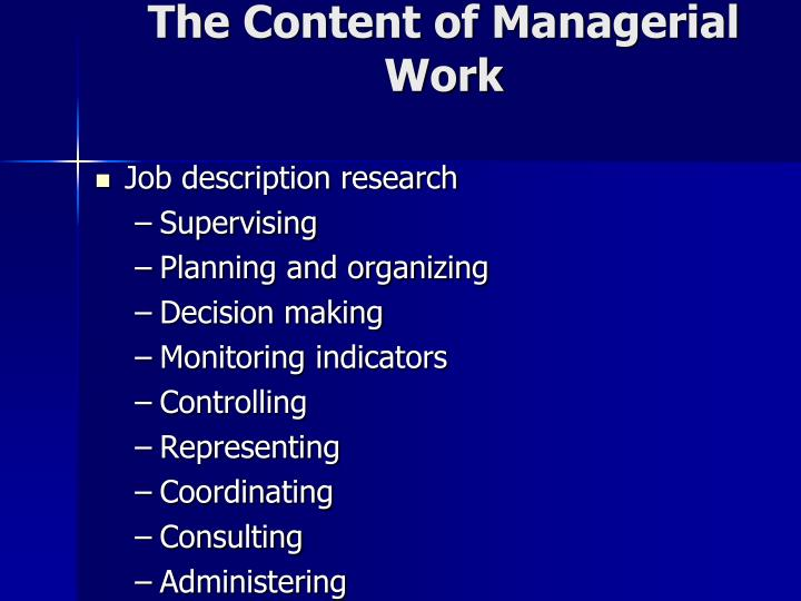 The Content of Managerial Work