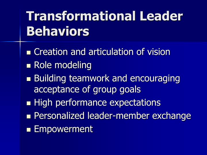 Transformational Leader Behaviors