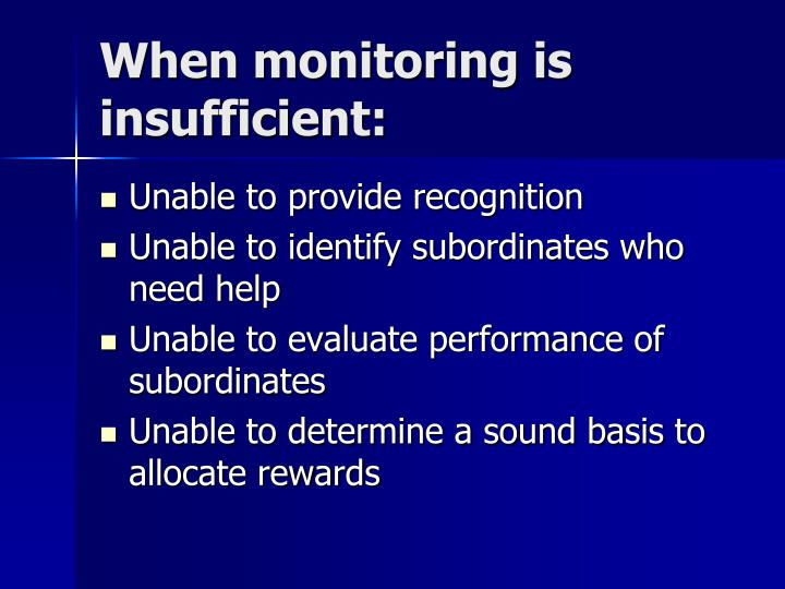 When monitoring is insufficient:
