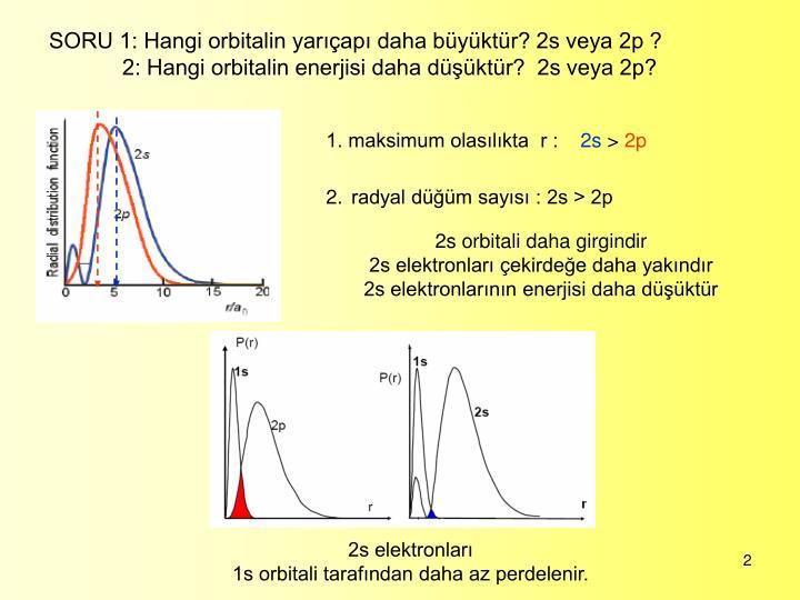 SORU 1: Hangi orbitalin yarıçapı daha büyüktür? 2s veya 2p ?