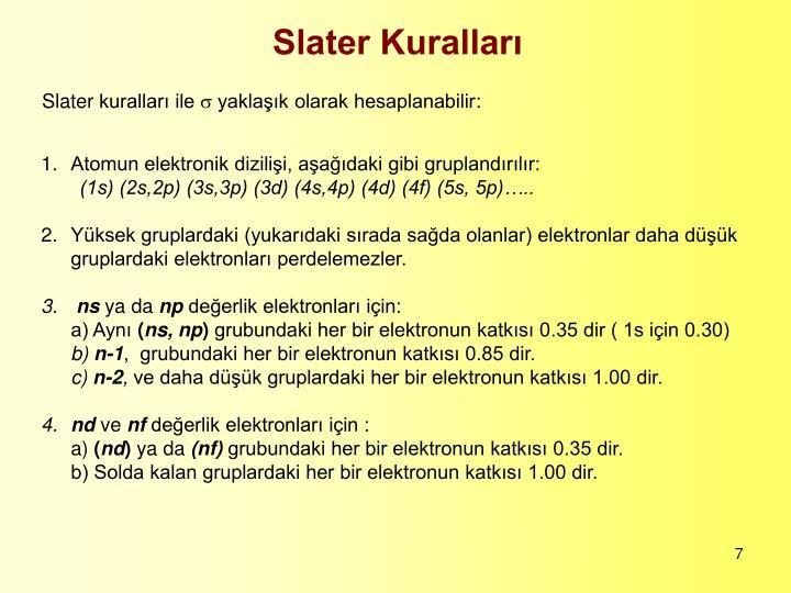 Slater Kuralları