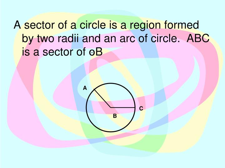 A sector of a circle is a region formed by two radii and an arc of circle.  ABC is a sector of